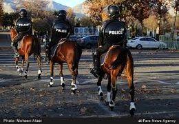 برخورد پلیس زن اسبسوار به تیر چراغ راهنمایی و رانندگی