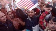 آتش کشیدن پرچم امریکا توسط هندیها