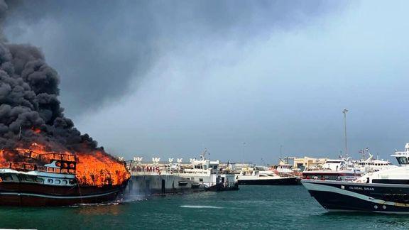 آتشسوزی لنج باری در کیش مهار شد