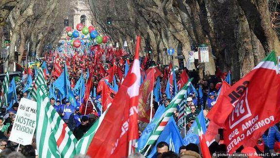 راهپیمایی سراسری در ایتالیا علیه سیاست های دولت
