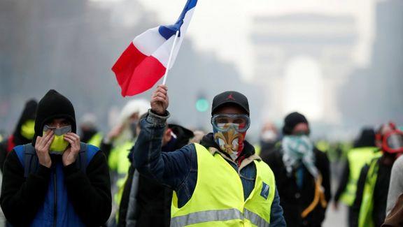 اعتراضات هفته 26 ام جلیقه زردها در هوای بارانی فرانسه آغاز شد