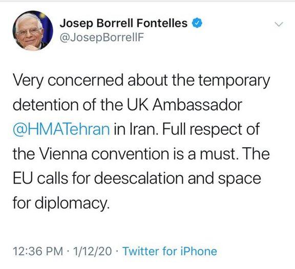 نماینده وزیرخارجه: سفیر انگلیس به عنوان یک خارجی ناشناس دستگیر شده است