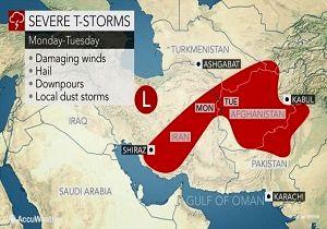 پایگاه هواشناسى بینالمللى هشدار داد/ وقوع توفان و بارش شدید از فردا