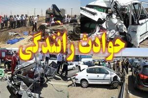 تصادف یک دستگاه مینی بوس با گاردریل در اتوبان تهران-کرج