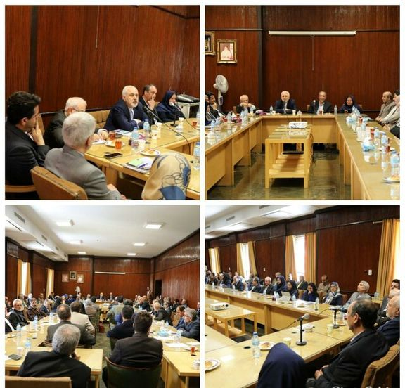 ظریف با اعضای هیات علمی دانشکده حقوق و علوم سیاسی دانشگاه تهران دیدار کرد