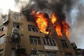 حادثه آتش سوزی ساختمان اداری - تجاری خیابان نیاوران - تقاطع کامرانیه تهران، صبح امروز