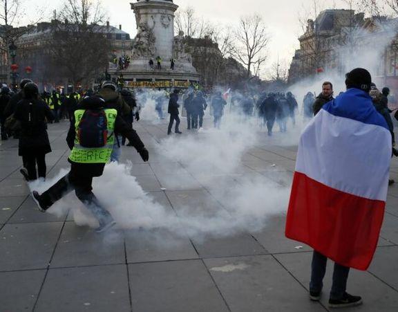 58 هزار جلیقه زرد در اعتراضات دیروز فرانسه شرکت کردند