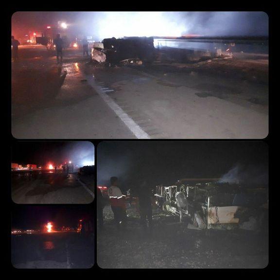 تانکر حمل سوخت مقصر اصلی حادثه مرگبار تصادف جاده کرمان نطنز