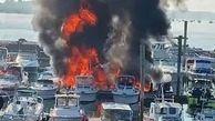 آتشسوزی چندین قایق در اسکله نیویورک