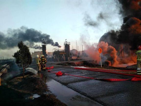 آتش سوزی پالایشگاه تهران ١١ تن را مصدوم کرد