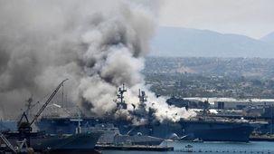 انفجار ناو جنگی آمریکایی در بندر سن دیگو/ دلیل انفجار نامشخص است