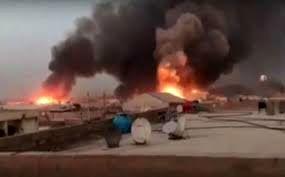 وقوع آتشسوزی در انبار مهمات حشد شعبی در  استان لأنبار